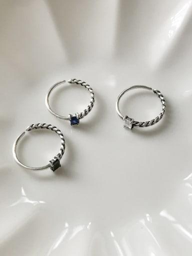 925 Sterling Silver Cubic Zirconia  Geometric Minimalist Free Size Midi Ring