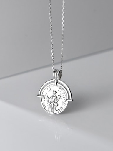 925 Sterling Silver Retro glossy English round portrait silver medal Necklace