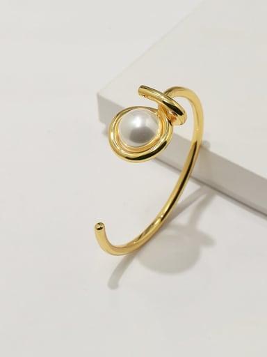 Copper Imitation Pearl White Irregular Minimalist Adjustable Bracelet