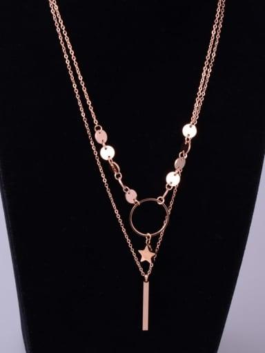 Titanium Round Trend Multi Strand Necklace
