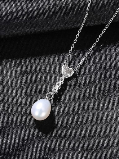 White 8A12 925 Sterling Silver Imitation Pearl Heart Minimalist Necklace