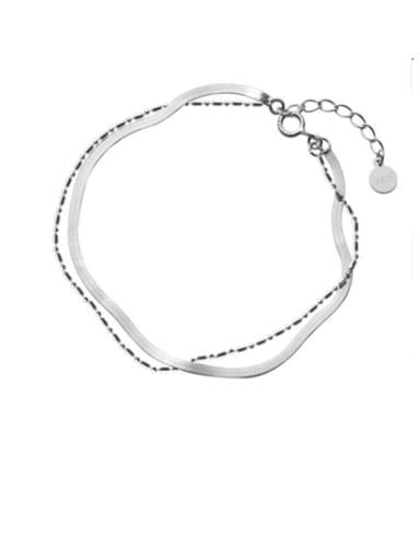 925 Sterling Silver Bead Irregular Minimalist Strand Bracelet