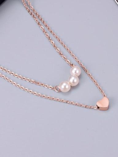 Titanium Imitation Pearl White Heart Minimalist Multi Strand Necklace