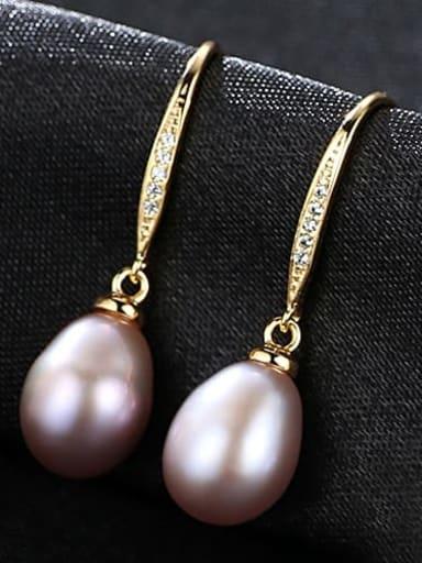 Purple 3B05 925 Sterling Silver Freshwater Pearl Oval Trend Hook Earring