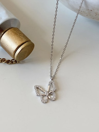 925 Sterling Silver Cubic Zirconia Butterfly Dainty Necklace