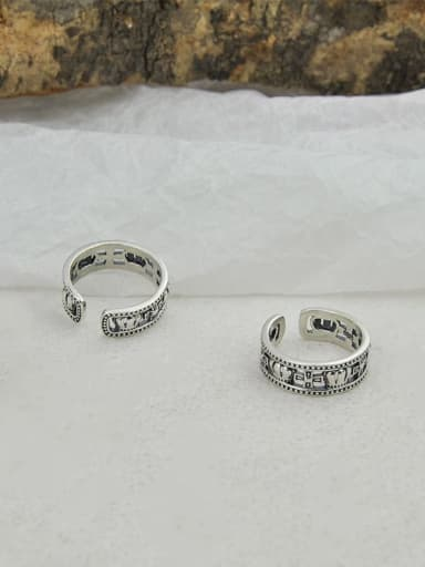 Vintage  Sterling Silver With  Simplistic Cross Crown  Free Size Rings