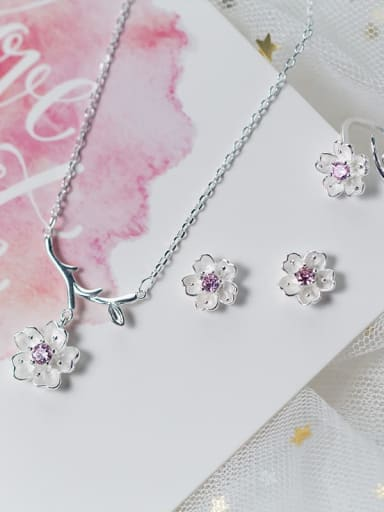 925 sterling silver simple fashion two color Flower Pendant Necklace