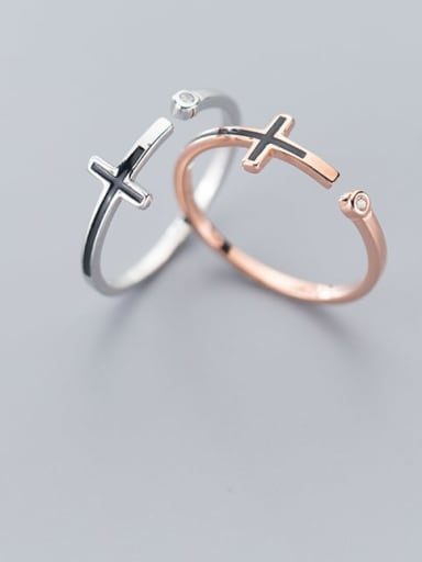 925 Sterling Silver  Minimalist  Cross Free Size Ring