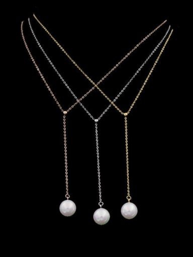 Titanium Imitation Pearl White Tassel Minimalist Lariat Necklace