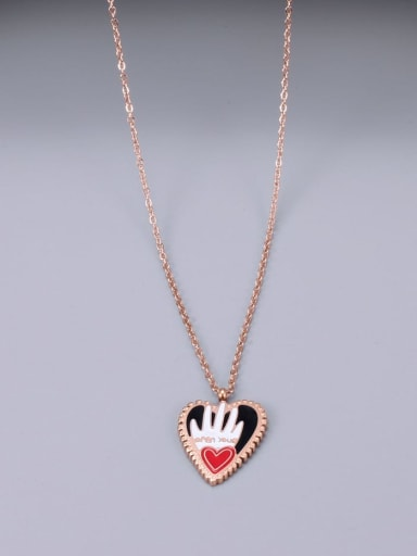 Titanium Enamel Heart Minimalist pendant Necklace