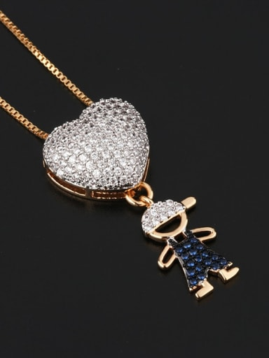 Single man Brass Cubic Zirconia Heart Cute boy and gril pendant Necklace