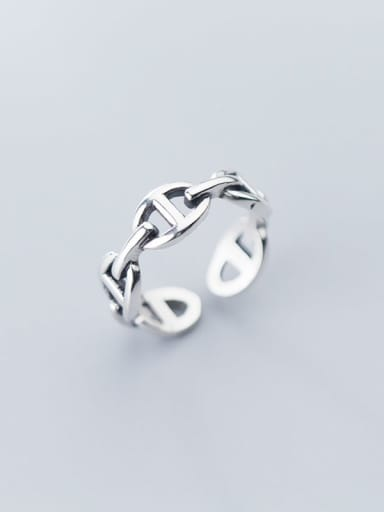 925 Sterling Silver Retro Hollow Geometric Ethnic Free Size Ring