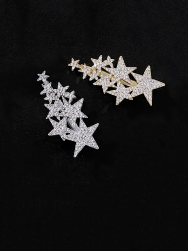 Zinc Alloy Rhinestone White Star Statement Barrettes & Clips