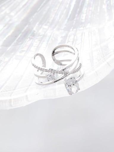 B plarinum Copper Cubic Zirconia White Irregular Dainty Band Ring