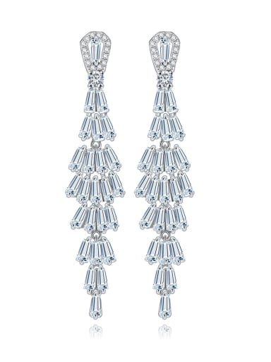 Copper Cubic Zirconia Geometric Luxury Chandelier Earring