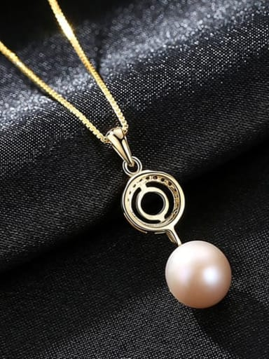 Purple 6F08 925 Sterling Silver  3A Zicon Freshwater Pearl Geometric Pendant Necklace