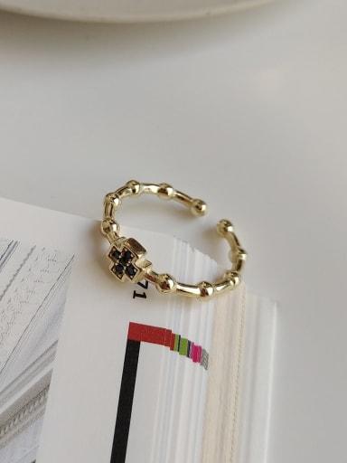 925 Sterling Silver Rhinestone Black Cross Minimalist Free Size Midi Ring