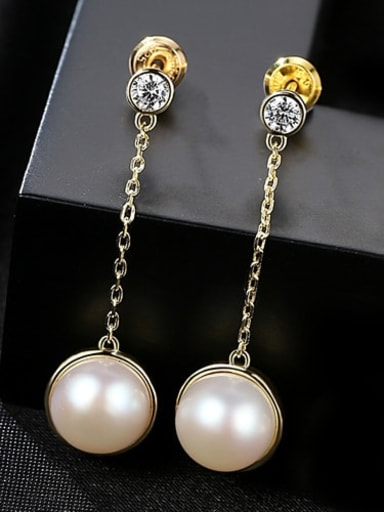18K white 3b01 925 Sterling Silver Freshwater Pearl White Ball Trend Threader Earring