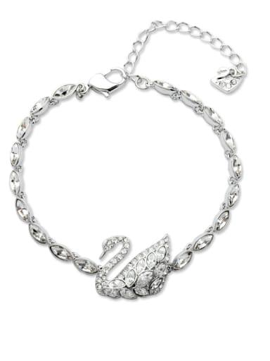 Copper Cubic Zirconia Swan Dainty Bracelet