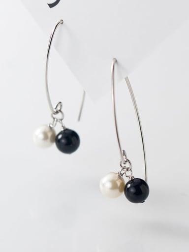 925 Sterling Silver Imitation Pearl Black Irregular Minimalist Drop Earring