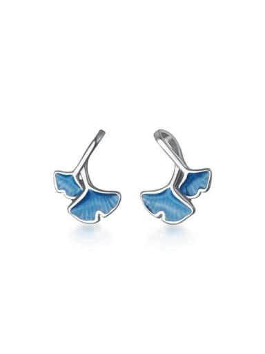 925 Sterling Silver Enamel Leaf Minimalist Stud Earring