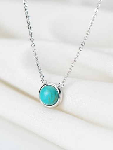 925 Sterling Silver Minimalist Round  Turquoise Pendant  Necklace