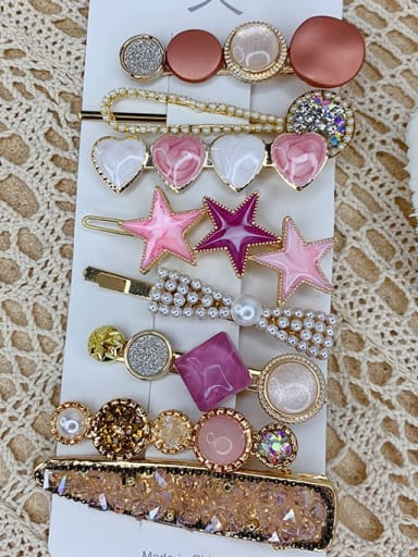 Pink love eight piece set Alloy Resin Popular eight-piece suit Bangs clip Mermaid Hairpin Headgear