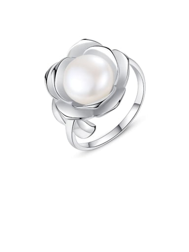 925 Sterling Silver  Fashion flower shape sticky freshwater pearl ring