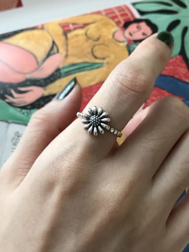 925 Sterling Silver flower daisy free size Ring