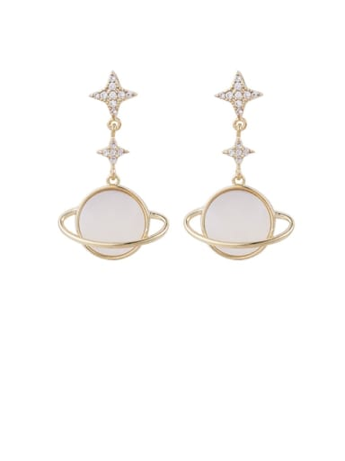Brass Cubic Zirconia White Round Minimalist Drop Earring