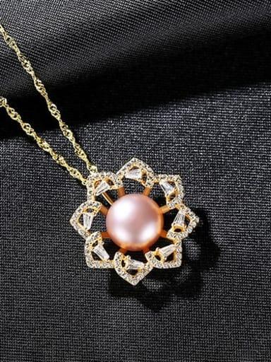 Purple 7A09 925 Sterling Silver Rhinestone Flower Dainty Necklace
