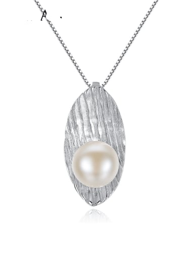 925 Sterling Silver Freshwater Pearl Leaf pendant Necklace