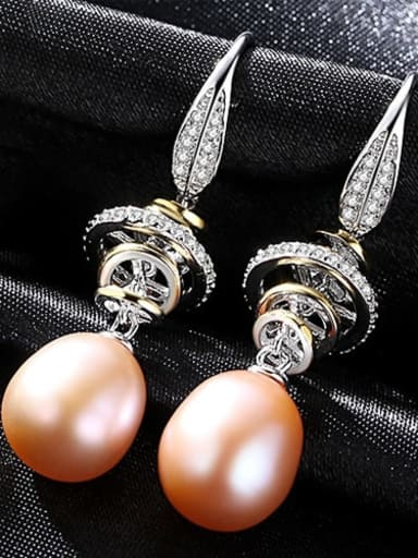 Pink 1A11 925 Sterling Silver Freshwater Pearl White Round Trend Hook Earring