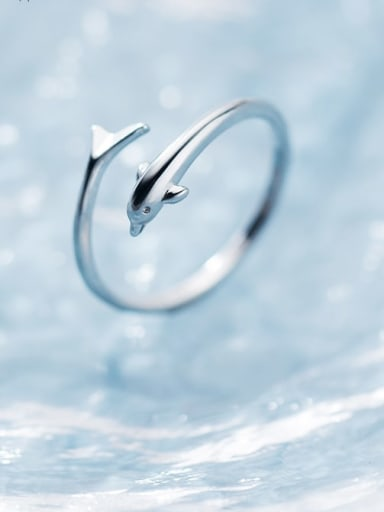925 Sterling Silver Dolphin Minimalist Free Size Ring