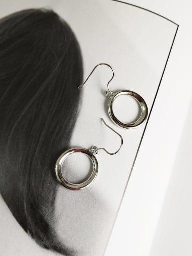 925 Sterling Silver Hollow Round Minimalist Hook Earring