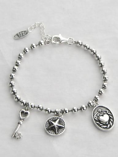 Vintage Sterling Silver With Antique Silver Plated Vintage Irregular Bracelets