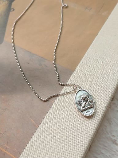 925 Sterling Silver Angel Artisan Initials Necklace