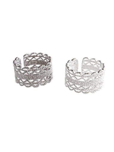 S925 Sterling Silver open cut hand cut lace ring