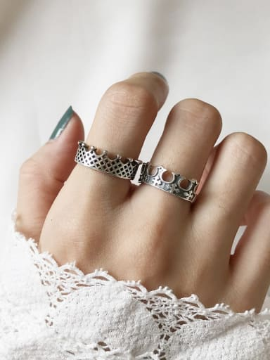 925 Sterling Silver crown free size  Ring