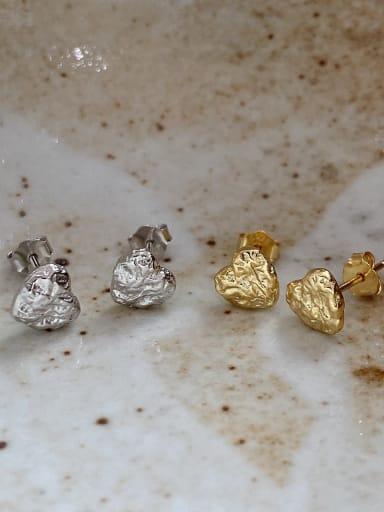 925 Sterling Silver Heart Vintage Stud Earring