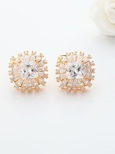 rose gold Copper Cubic Zirconia Flower Luxury Stud Earring