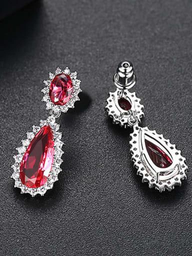 Red corundum t04d18 Copper Cubic Zirconia Minimalist  Water Drop Drop Earring
