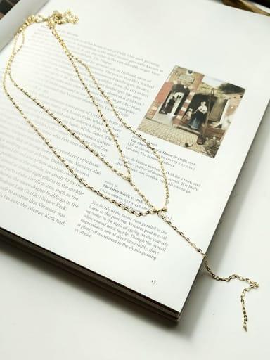 925 Sterling Silver Tassel Minimalist Double Lip Chain Beaded Necklace