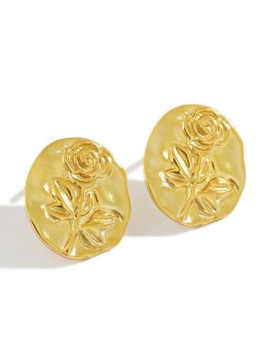 925 Sterling Silver Geometric Rose flower Vintage Stud Earring