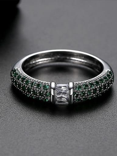 Green  US 6 Copper Rhinestone Round Minimalist Band Ring