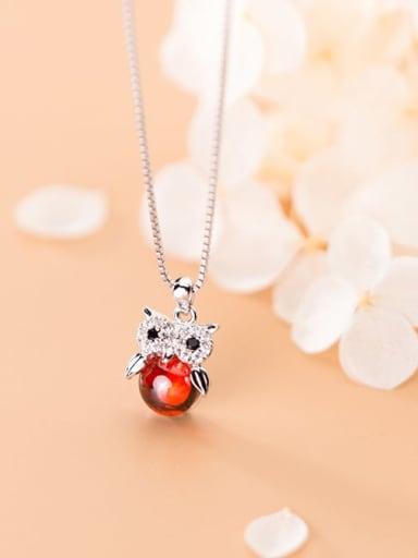 925 Sterling Silver Rhinestone Cute super cute owl Necklace