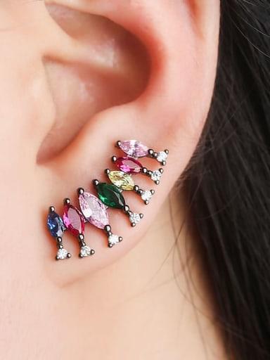 Black gold Copper Cubic Zirconia Multi Color Water Drop Luxury Stud Earring
