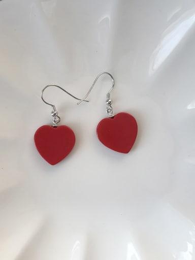 925 Sterling Silver Acrylic Heart Minimalist Hook Earring