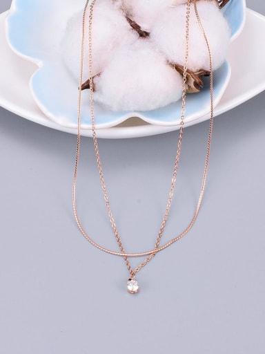 Titanium Cubic Zirconia White Round Minimalist Multi Strand Necklace