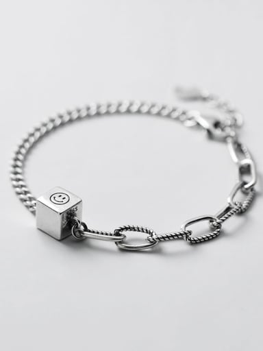 925 Sterling Silver Retro smiley Cube Asymmetric bracelet